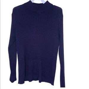 Mock neck navy blue sweater